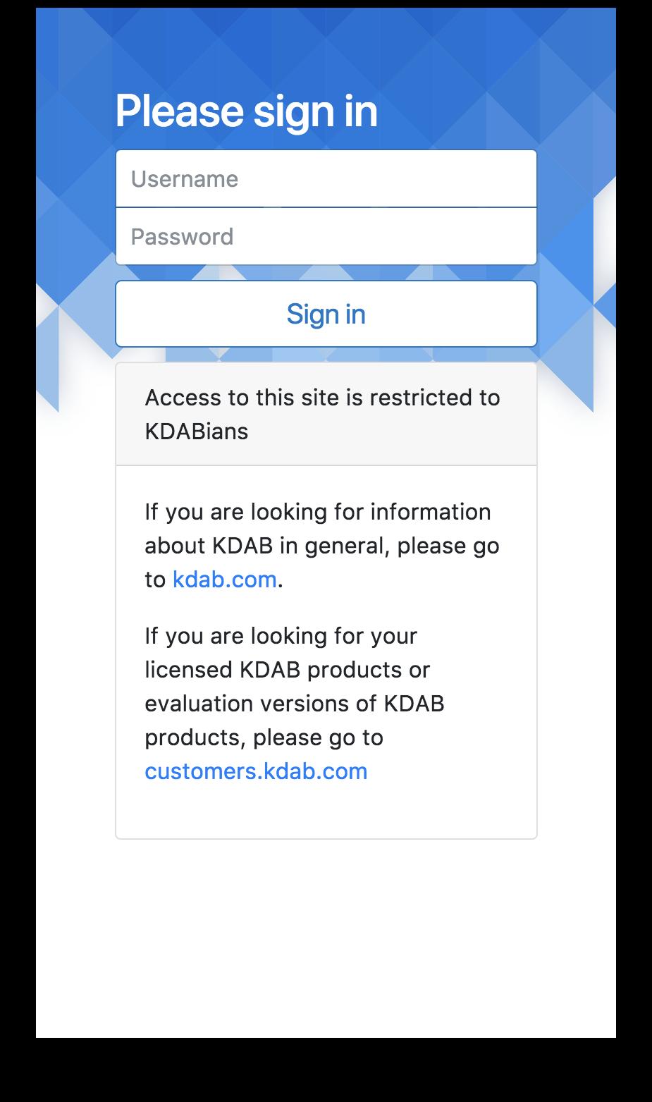 Responsive login screen