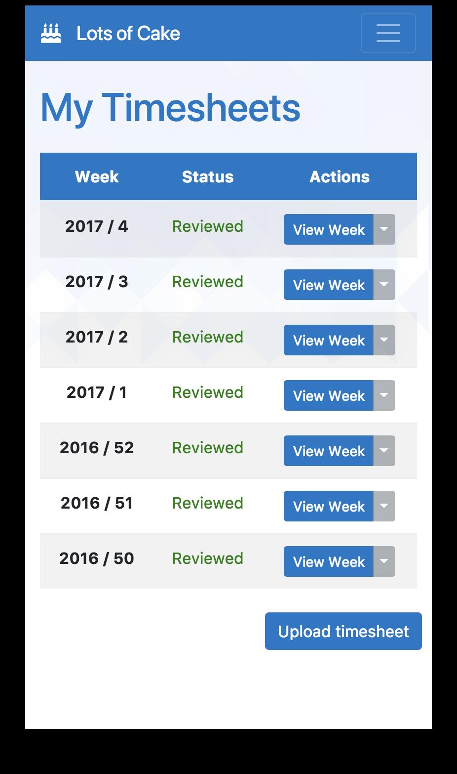 Responsive timesheet screen